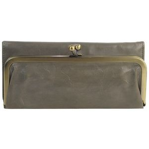 HOBO RACHEL Leather Trifold Wallet Stone Taupe Gra